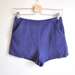 Blue Rain High Waisted Eyelet Shorts